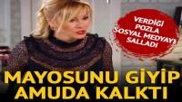 Pınar Altuğ mayosuyla amuda kalktı! Pozlarıyla gündem oldu